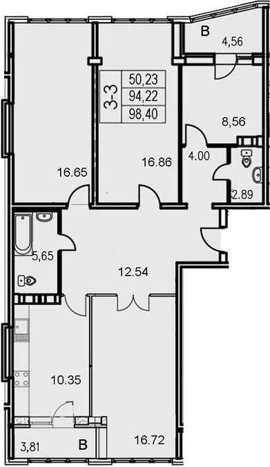 3-к.кв, 102.58 м²