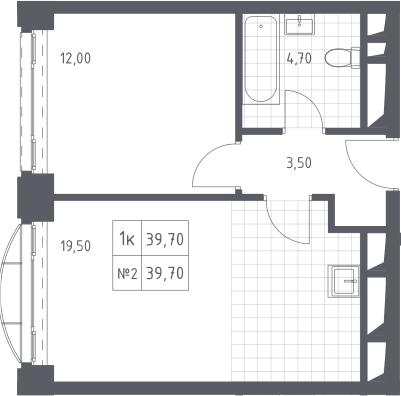 2Е-к.кв, 39.7 м², 15 этаж