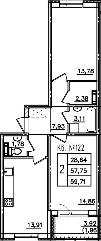 2-к.кв, 61.67 м²