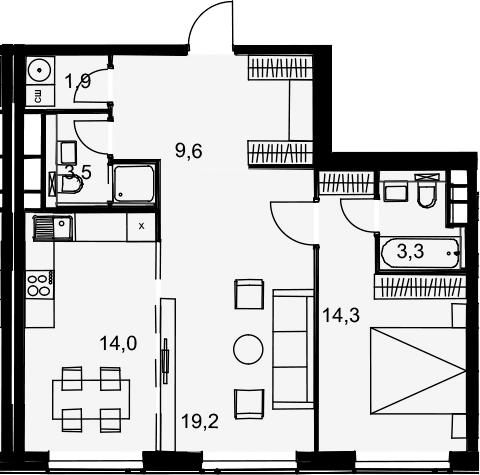 2-комнатная квартира, 65.8 м², 28 этаж – Планировка