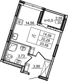 Студия, 23.58 м²– 2