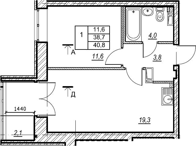 1-к.кв, 40.9 м², 7 этаж