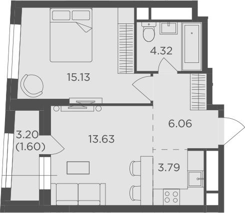 2Е-к.кв, 44.53 м²