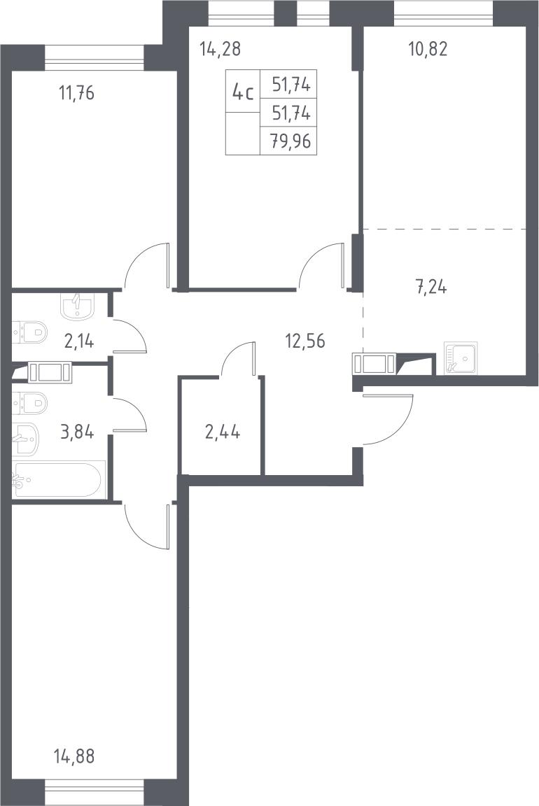 4Е-комнатная, 79.96 м²– 2