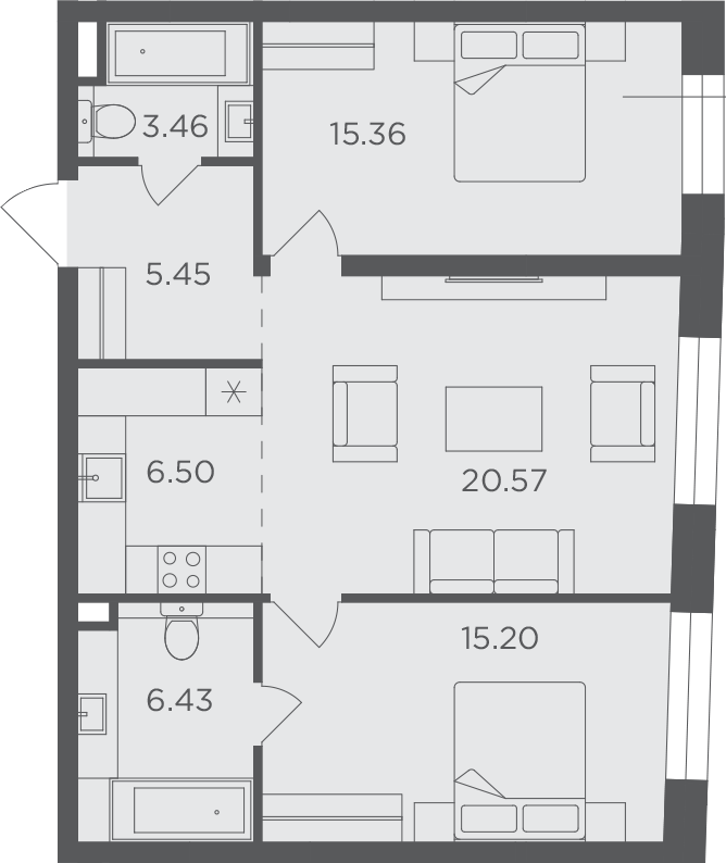 3Е-к.кв, 72.97 м²