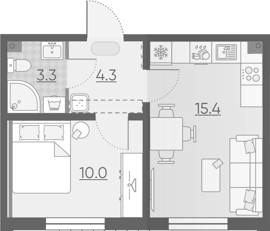 2-к.кв (евро), 33 м²