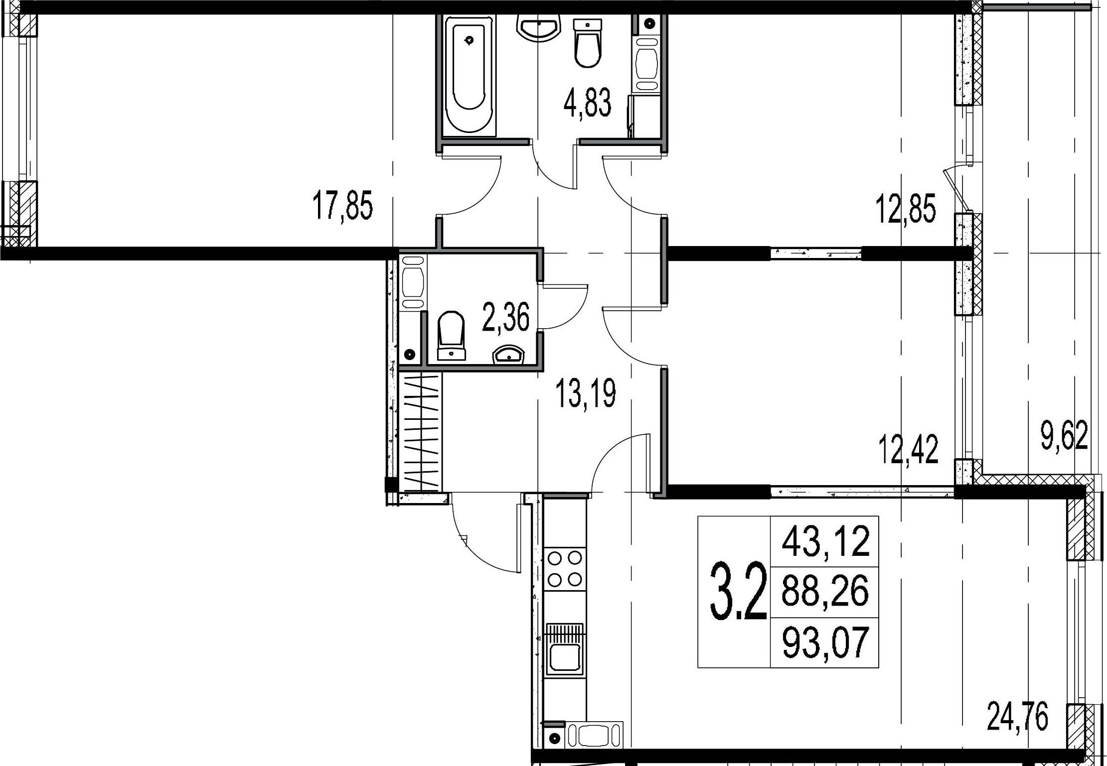 4-к.кв (евро), 97.88 м²