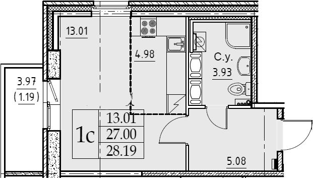 Студия, 28.19 м²– 2