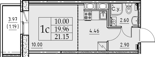 Студия, 21.15 м², от 5 этажа