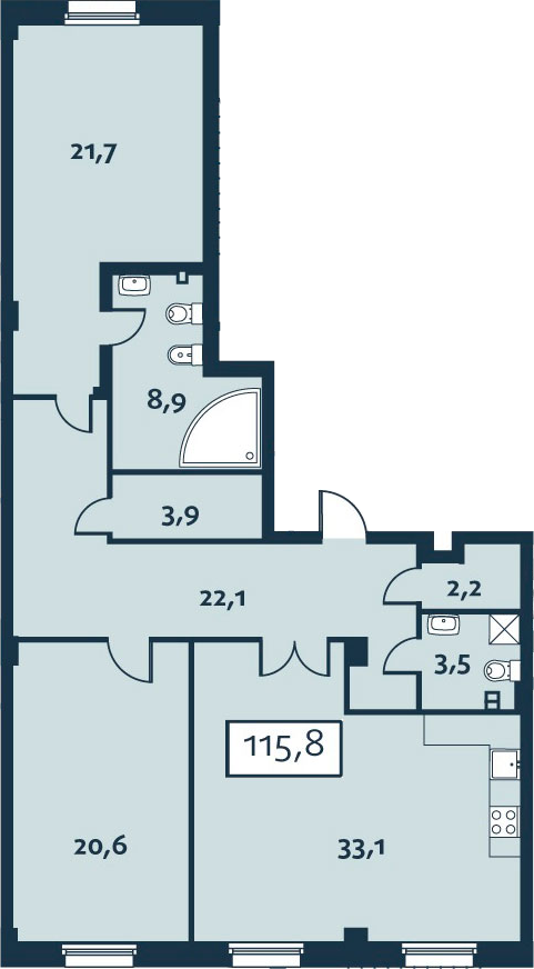 3Е-комнатная квартира, 115.79 м², 1 этаж – Планировка