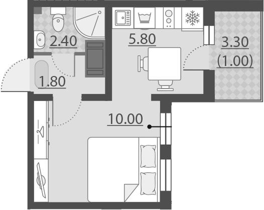 1-комнатная, 21 м²– 2