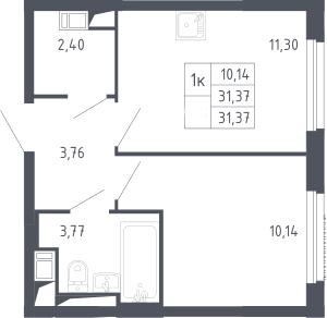 1-к.кв, 31.37 м², 17 этаж