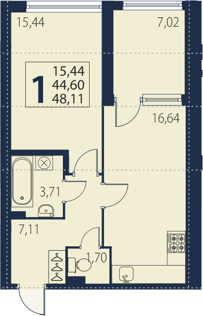 2Е-к.кв, 44.6 м², 2 этаж