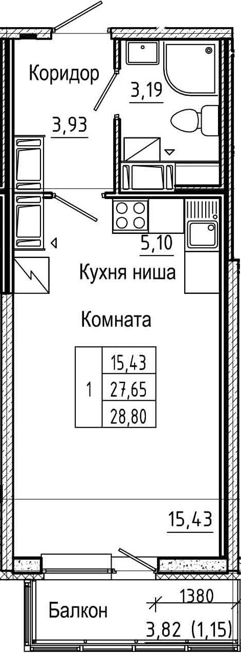 Студия, 28.8 м², 23 этаж