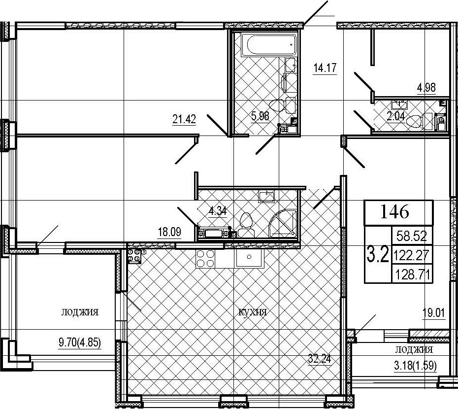 4Е-комнатная квартира, 128.71 м², 5 этаж – Планировка