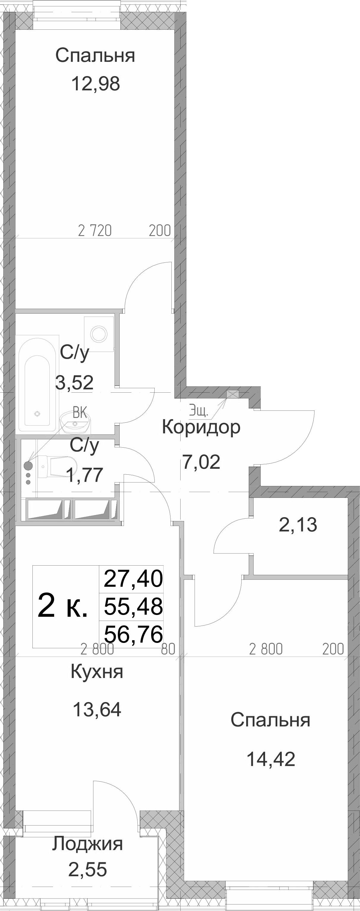 2-к.кв, 56.76 м², 13 этаж