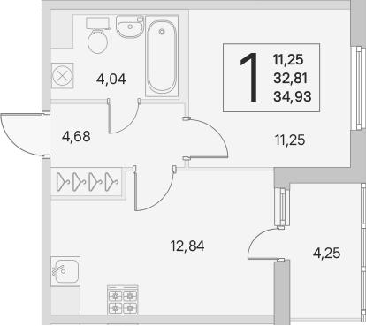 2Е-комнатная, 32.81 м²– 2