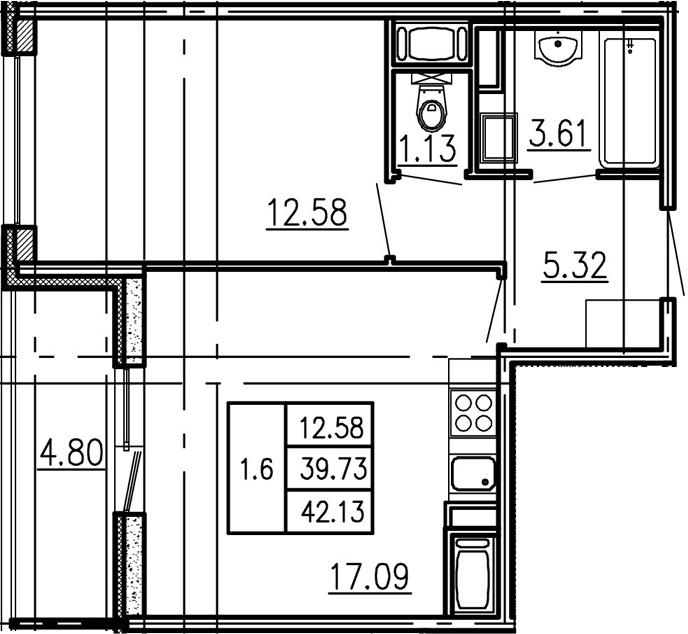 2-к.кв (евро), 44.53 м²