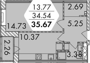 1-к.кв, 38.68 м²
