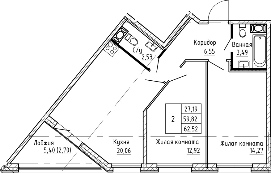 3Е-к.кв, 62.52 м², от 5 этажа