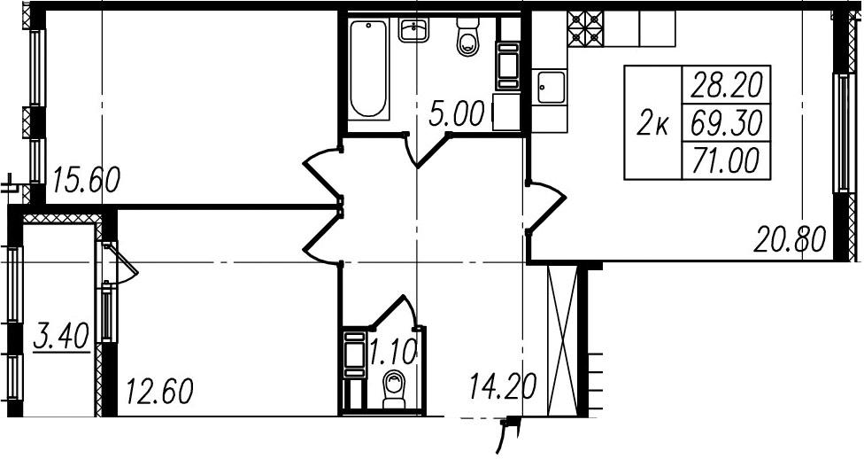 3Е-к.кв, 69.3 м², 10 этаж