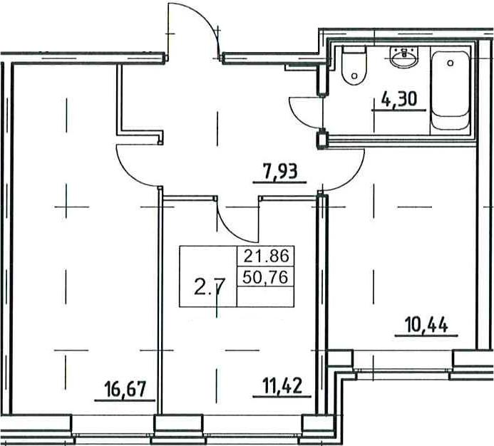 3Е-к.кв, 50.76 м²