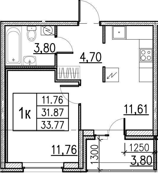 1-комнатная, 33.77 м²– 2
