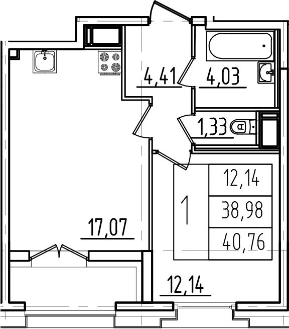 2Е-к.кв, 40.76 м², 11 этаж