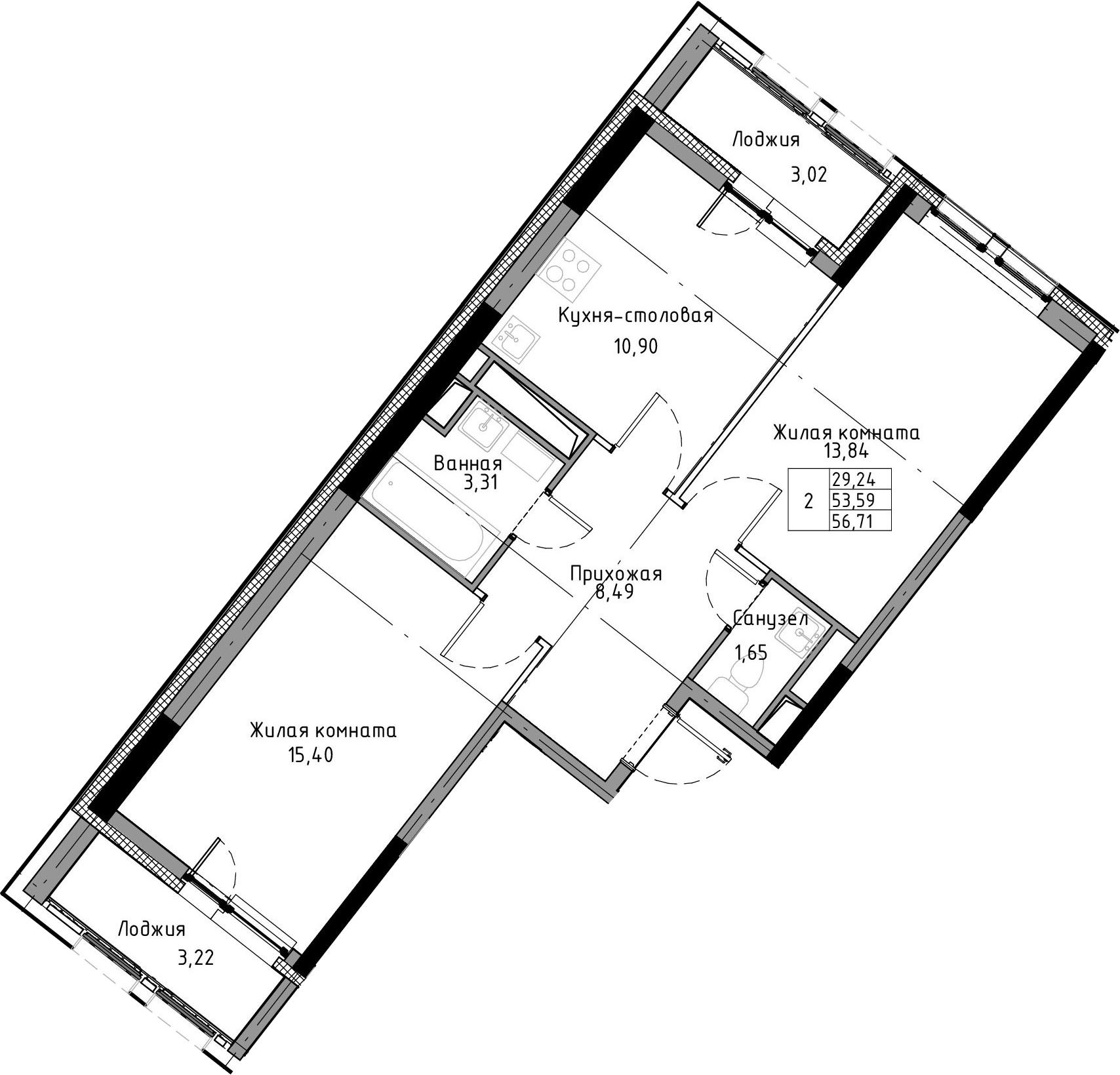 2-к.кв, 56.71 м², от 6 этажа