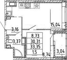 2-к.кв (евро), 33.35 м²