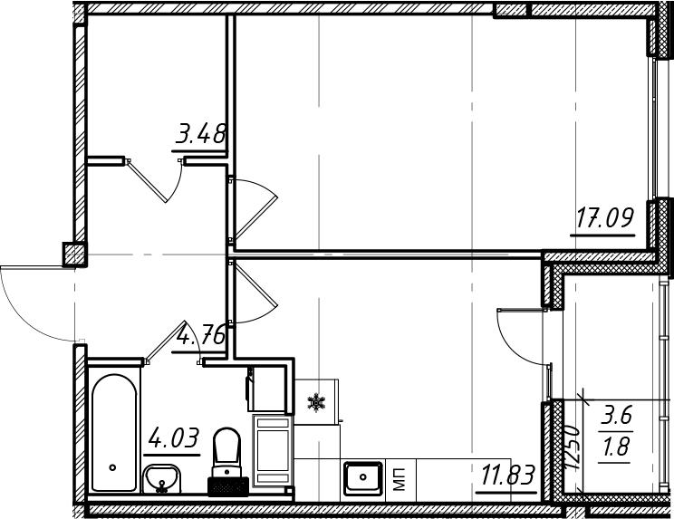 1-комнатная, 42.99 м²– 2