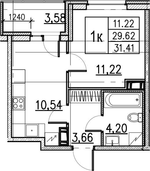 1-комнатная, 31.41 м²– 2