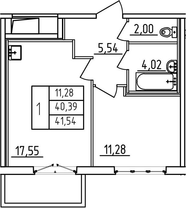 2-к.кв (евро), 44.22 м²