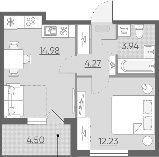 2-к.кв (евро), 39.92 м²