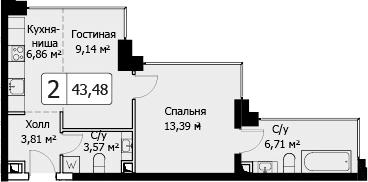 2-к.кв (евро), 43.48 м²