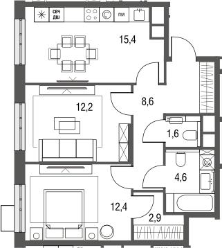 3Е-к.кв, 57.7 м², от 3 этажа
