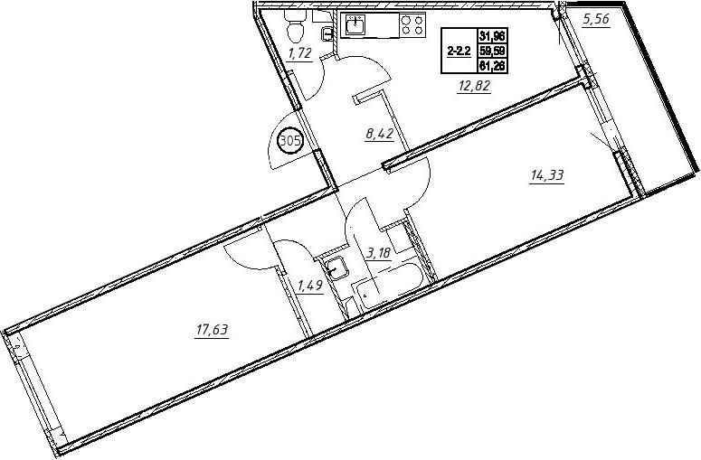 2-к.кв, 65.16 м²