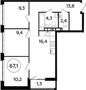 4Е-к.кв, 67.1 м², от 12 этажа