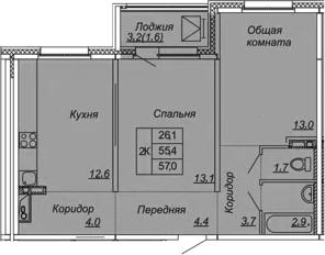 2-к.кв, 57 м², 6 этаж