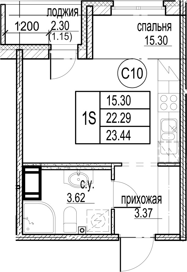 Студия, 24.59 м²
