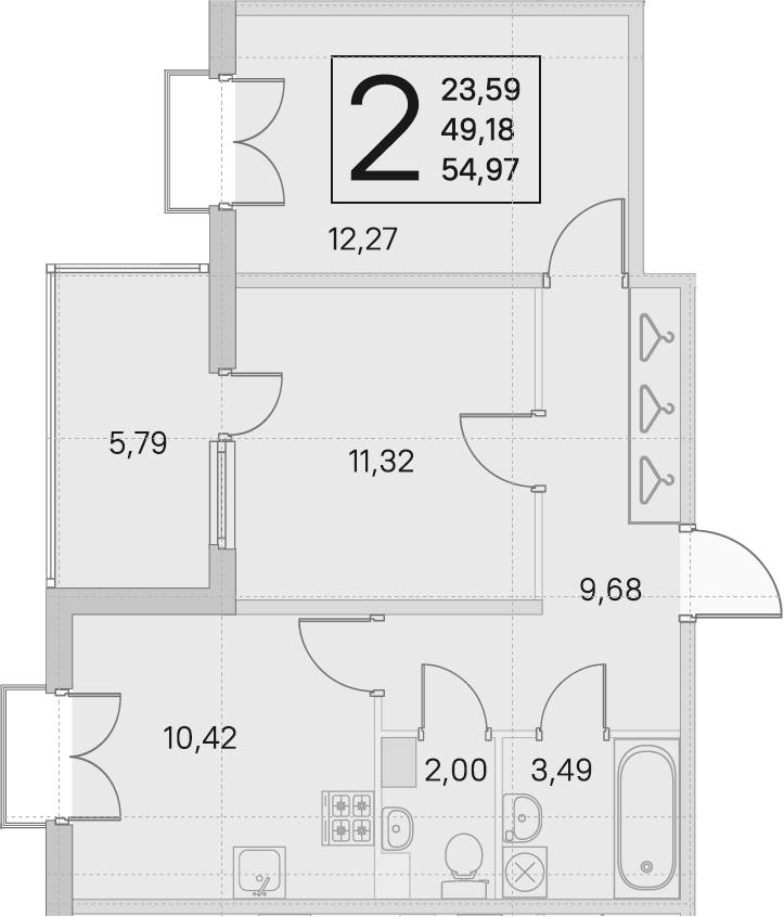 2-комнатная, 49.18 м²– 2