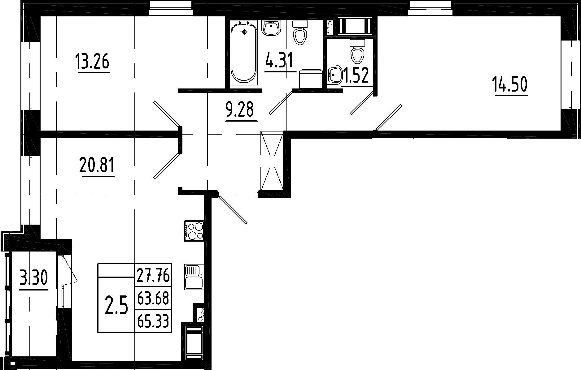 3-к.кв (евро), 66.98 м²
