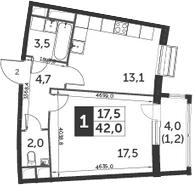 1-комнатная, 42 м²– 2