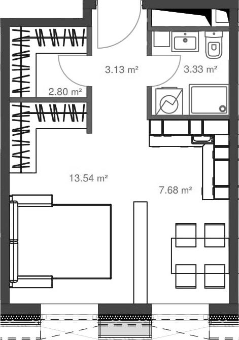 Студия, 30.48 м²