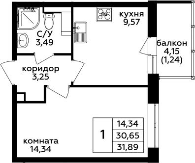 1-комнатная, 31.89 м²– 2