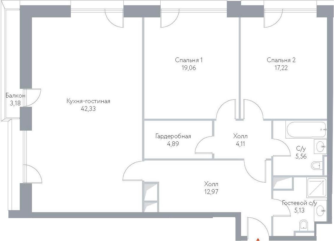 3-к.кв (евро), 121.87 м²