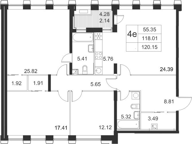 4-к.кв (евро), 122.29 м²