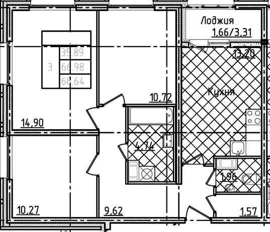 3-к.кв, 68.64 м²