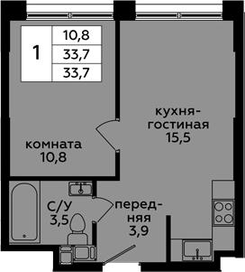 2-к.кв (евро), 33.7 м²