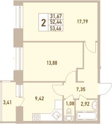 2-к.кв, 55.85 м²